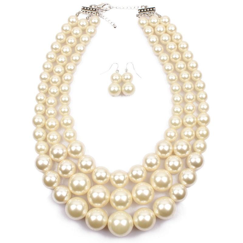 Imitation Pearl Jewelry Set 2018 new Elegant Classic Exaggerated Multilayer Handmade Beads collar Choker statement Necklace Women wholesale