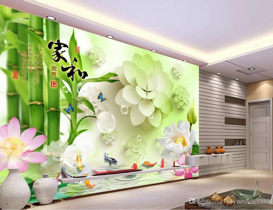 custom wallpaper for walls 3 d Bamboo lotus carp photo wall mural wallpapers for living room