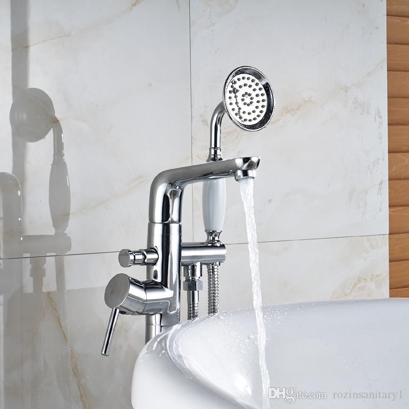 도매 및 소매 Chrome Waterfall Spout 욕실 수도꼭지 믹서 Tap with Hot and Cold Water 무료 휴대용 서있는 분무기