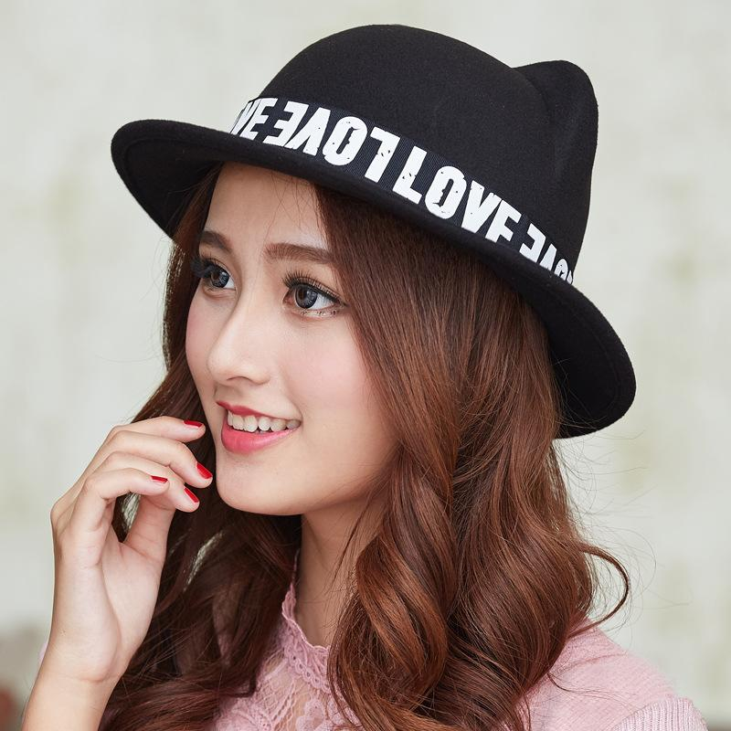 14673ec40ce Cute Cat Ears Wool Cap Hat For Women Fashion Ladies Girls Felt Fedora Hats  Female Wide Brim Bucket Hats Autumn Winter GH 214 Winter Hats For Women  Beach ...