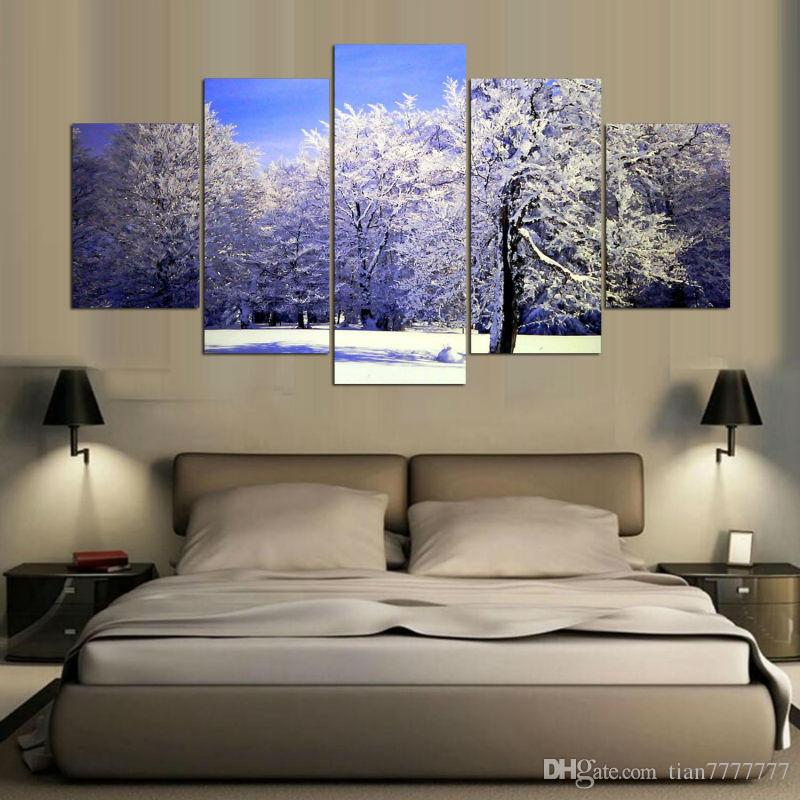 Winter Snow Tree Canvas Painting No frame wall Art Print Picture For Living room Home decor Wall poster