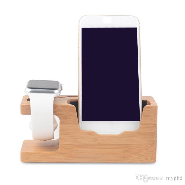2017 apple watch iwatch iphone için bambu şarj İstasyonu standı usb şarj dock kepçe ahşap telefon tutucu için iphone 7 6 plus 5 s