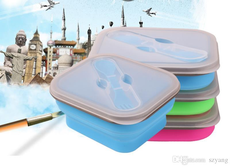 Foldable Silicone Lunch Boxes with Fork Collapsible Lunch Box Food Safe Container Silicone Lunch Boxes For Microwave