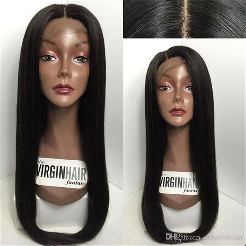 Non transformés 7A Indien Vierge Cheveux Raides Full Lace Perruque