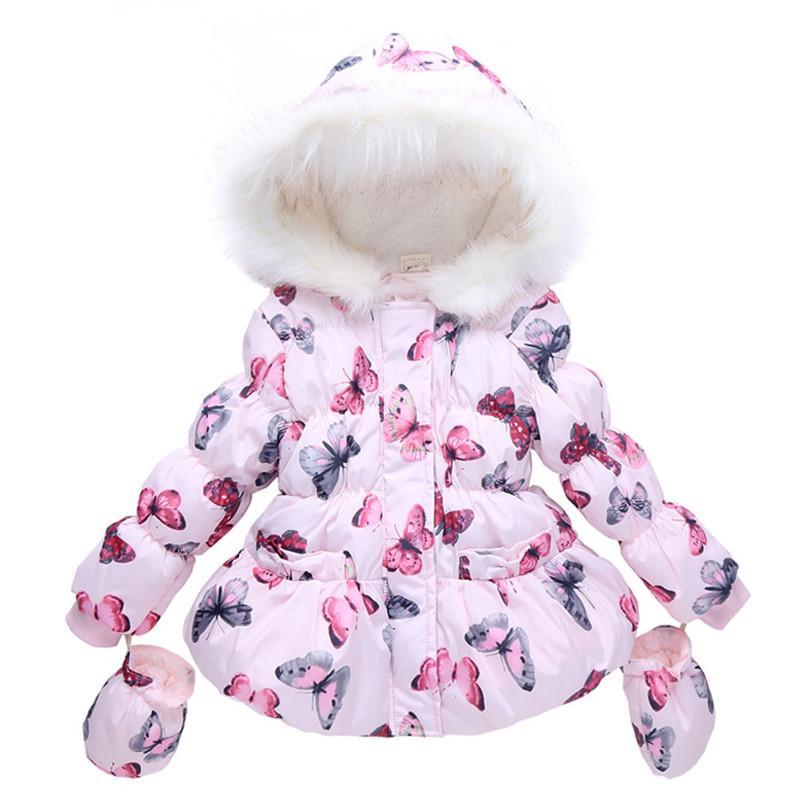 2017 Fashion Girls Wintermantel + Handschuhe 2 stücke Set Schmetterling Mit Kapuze Reißverschluss Fleeced Baby Mädchen Winter Jacke Kinder Winter Kleidung