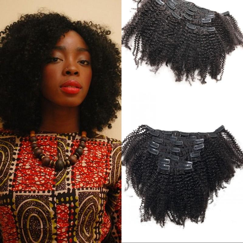 4c Afro Kinky Curly Clip In Hair Extension Asian Remy Human Hair