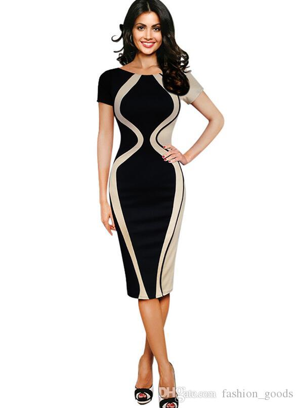 High quality Women's good quality thousands of birds grid splicing Slim stretch package hip pencil pen dress NLX003