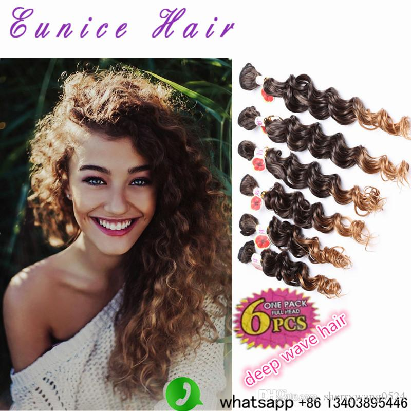 DEEP Wave/Jerry Curly Synthetic Hair Weaves Ombre Hair Extension T1B/27/30/Purple/BUG colored Afro Curly Hair Freetress Croceht Braids