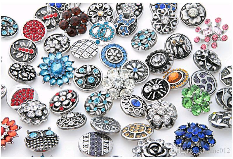 Fashion 18mm Snap Buttons With Rhinestone Crystal Metal Clasps DIY Noosa chunks Jewelry Accessories Mix Styles 50pcs