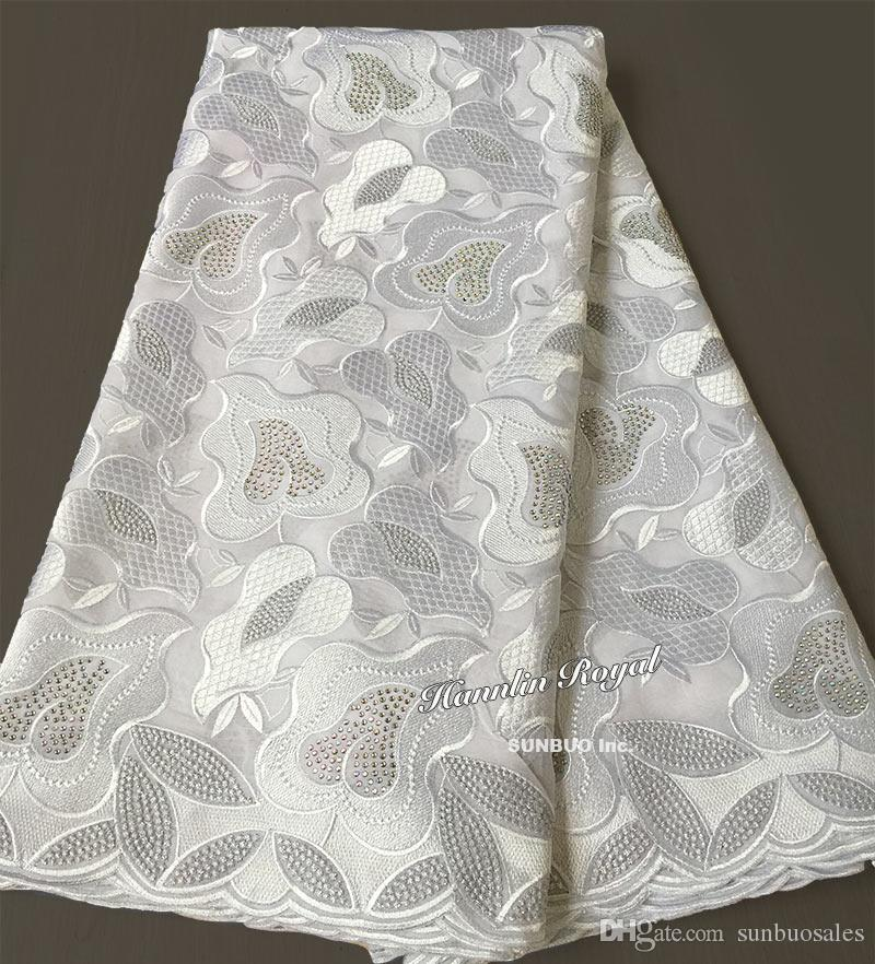 2019 Plain White African Swiss Lace Voile Fabric Cotton