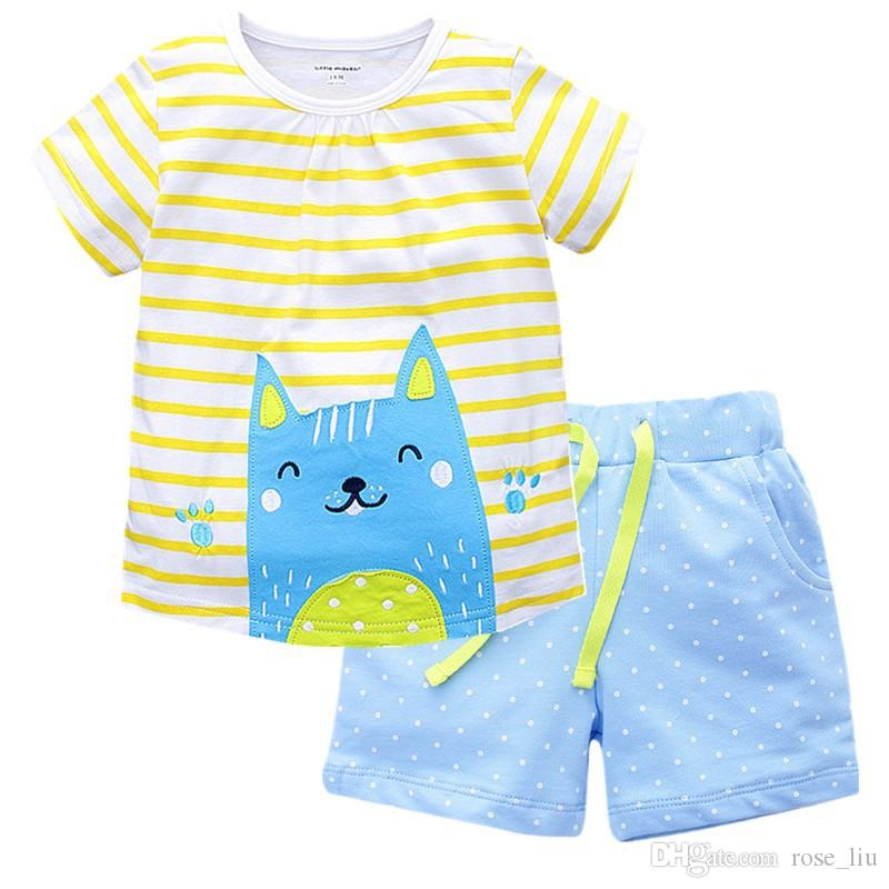 2017 neue mädchen sommer ins schöne katze passt kinder strand cartoon streifen kurzarm t-shirt + shorts 2 stück set passt baby kleidung b