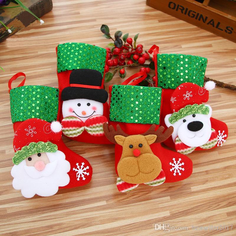 New Year Mini Christmas Stockings Socks Santa Claus Candy Gift Bag ...