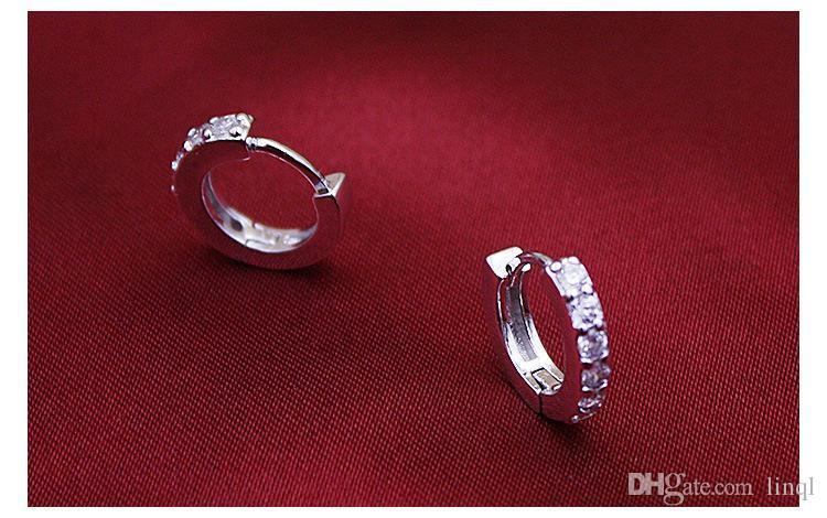 925 en argent sterling petit cerceau boucles d'oreilles avec zircon mode bijoux engagement cadeau pour les femmes livraison gratuite de bonne qualité