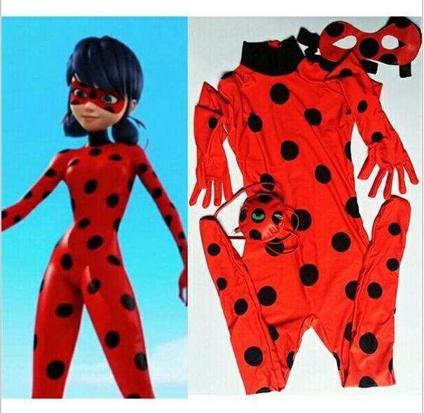 abebe50575 Kids Zip The Miraculous Ladybug Cosplay Costume Halloween Girls Ladybug  Marinette Child Lady Bug Spandex Full Lycra Zentai Suit Groups Costumes  Halloween ...