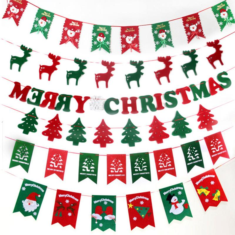 Wholesale Merry Christmas Garland Bunting Banner Set Christmas Party Decoration Party Photo Prop Booth New Year Party Supplies