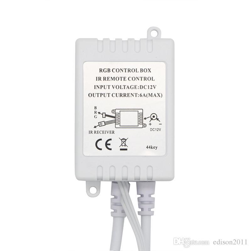 Edison2011 doppi Connettori uscita DC12V 6A Controller RGB IR di 44 chiavi dimmer due rotoli 3528 2835 5050 LED controlling