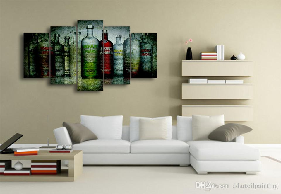 Wholesale Artistic Colorful Vodka Bottles Oil Paintings HD Printed Group Pictures Canvas Wall Hanging for Home or Coffee Bar Decor Print