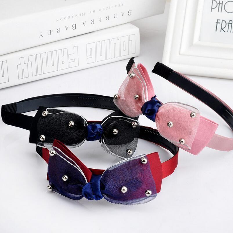 Best gift Lace Pearls Wide Edge Hoop Butterfly Gauze Fabrics Headband Hair Accessories Headdress TG054 a