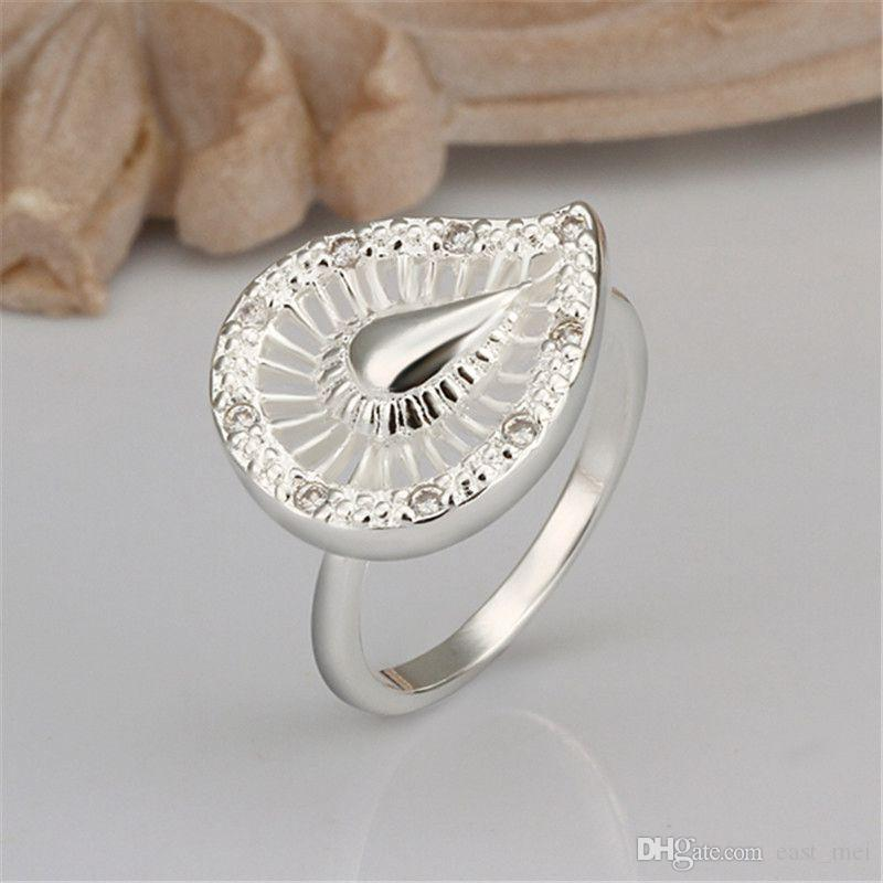 Hochzeit Wassertropfen Sterlingsilber Fingerring fit Frauen, Hochzeit weißen Edelstein 925 silberne Platte plattiert Ringe Solitaire Ring ER304
