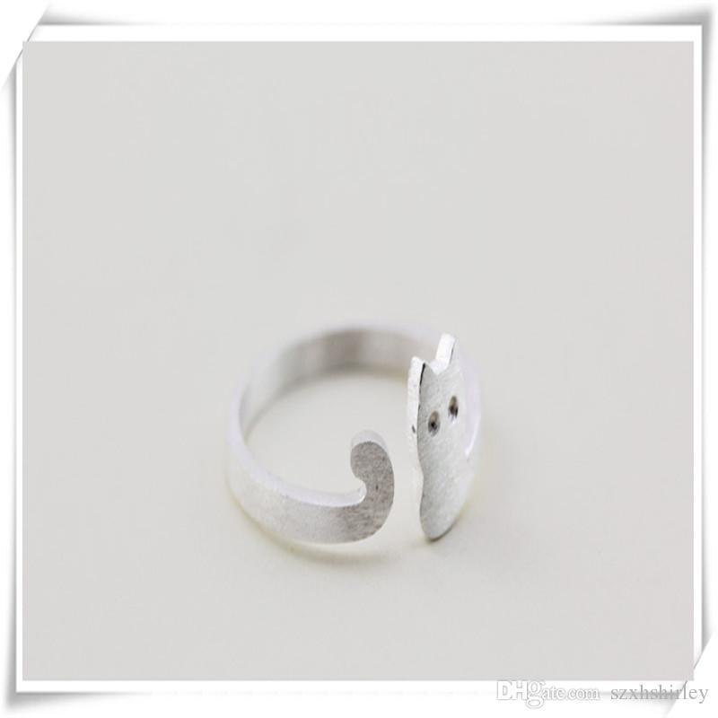 Joyería de moda S925 Pure Sterling Silver Ring Forma de gato Encantadores Anillos Abiertos The Tail Ring High Quality