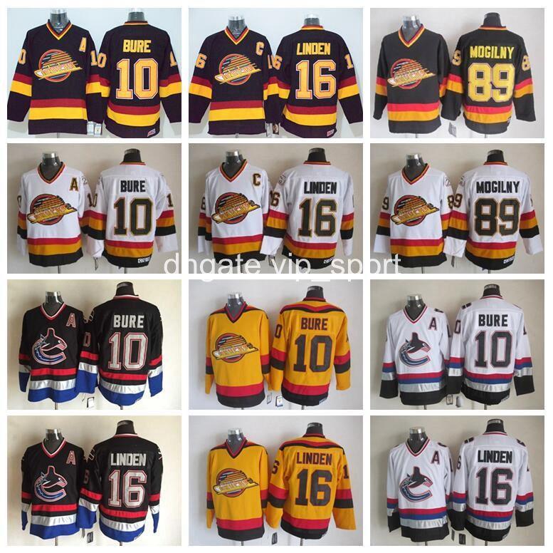 73ff5bee814 2019 10 Pavel Bure Jersey Men Retro Vancouver Canucks Ice Hockey Jerseys  Vintage 16 Trevor Linden 89 Alexander Mogilny Home Black White From  Vip_sport, ...