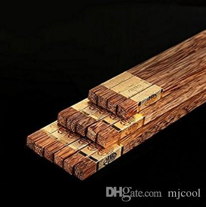 Baguettes en bois riches en or ailes sans peinture en métal de qualité cire tête carrée Baguettes en bois chinois es / 10 pièces 25cm