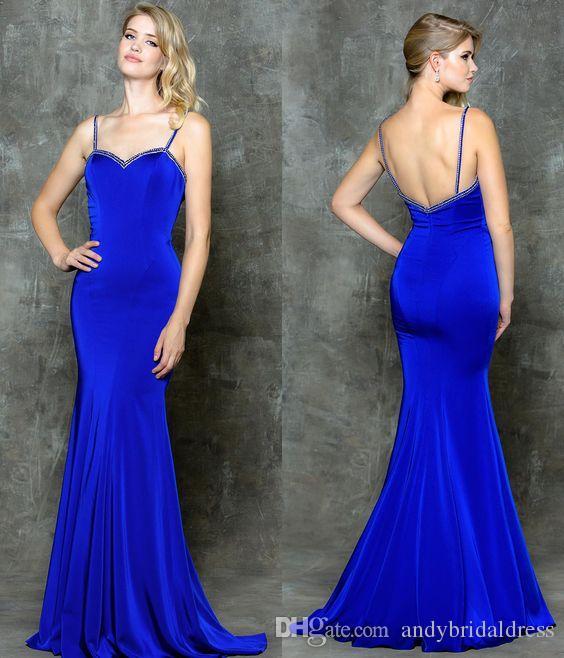 Acheter Spaghetti Bleu Vif Bretelles Robes De Soirée Sexy Robe De