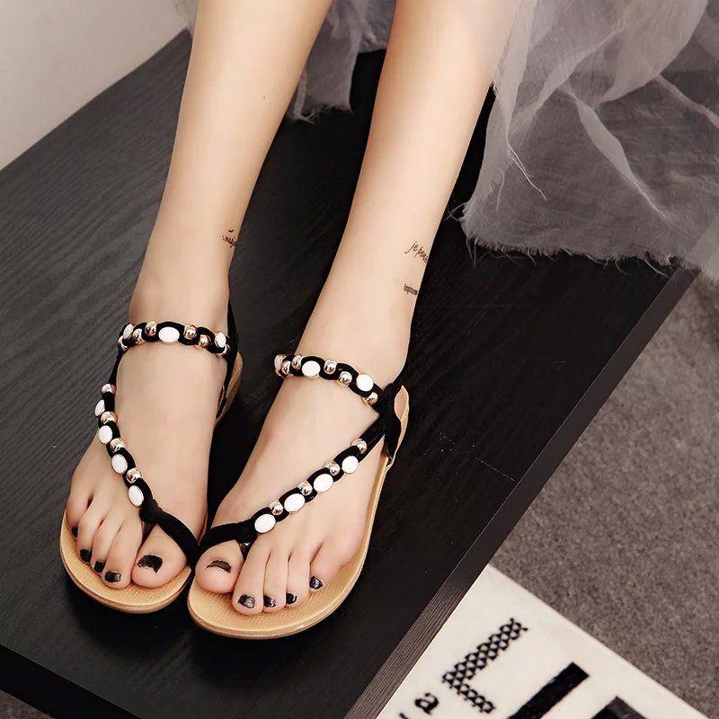 1f8adbc3b61 Women Flat Heel Sandals Summer Beach Shoes Fashion Black Beaded Toe Bohemia  Sandals 602 Silver Wedges Brown Wedges From Jacqueline chou
