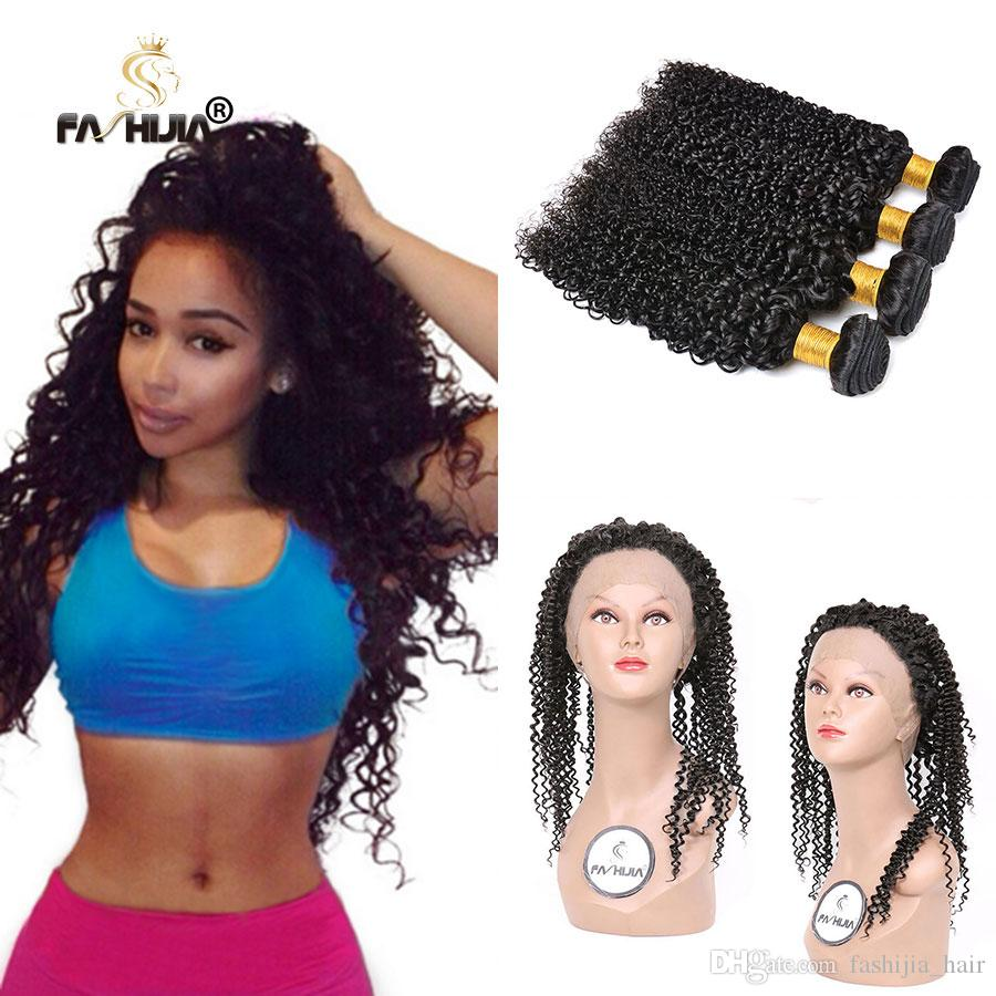 360 Frontal with bundles human hair kinky curly natural color 3pcs Afro kinky curly virgin hair Jerry curly brazilian hair with closure
