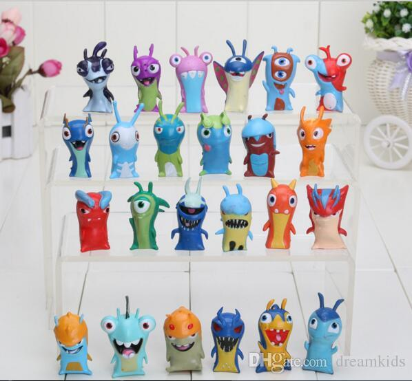 24pcs/lot 5cm Cotton Movie mini Slugterra PVC Action Figure Animal Doll Toys For Kids Gifts