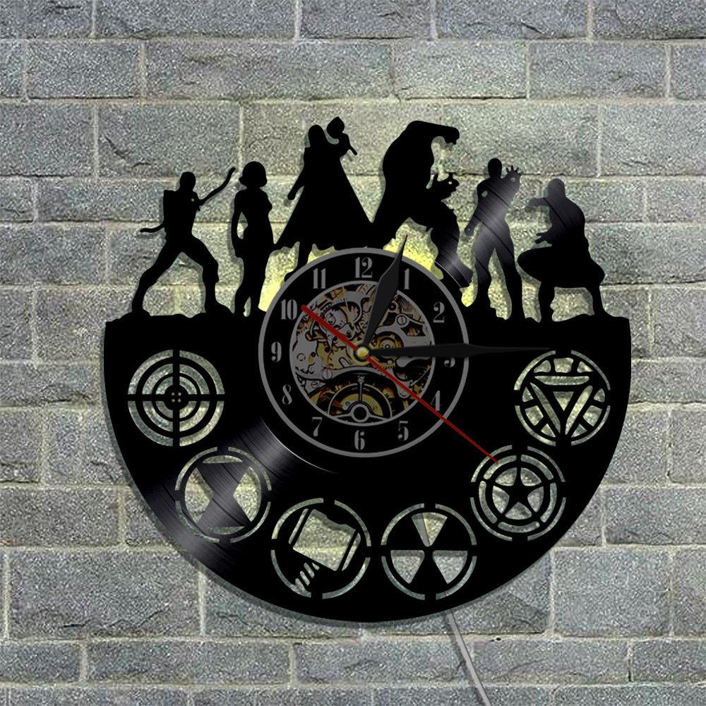 The avengers vinyl wall clock super heroes silhouette with led see larger image amipublicfo Images