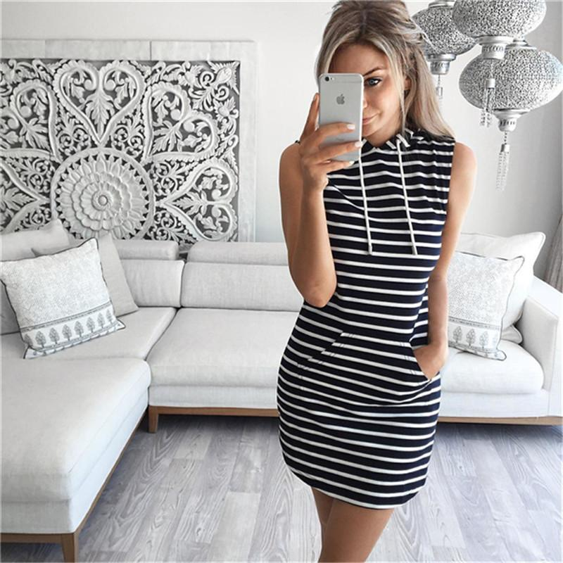 2017 Fashion Women Sexy Summer Bandage Bodycon Evening Party Cocktail Casual Short Mini Dress Womens Clothing Stripe Hooded Sleeveless Dress