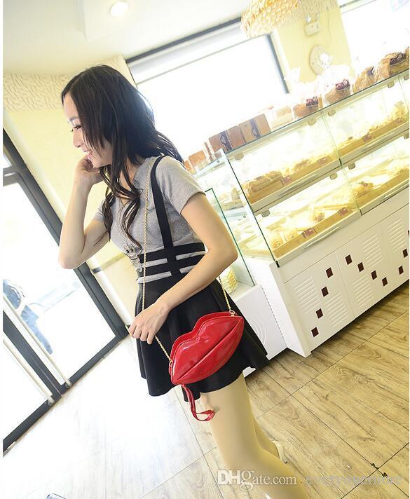 Yeni popüler büyük dudaklar desen kadın çanta çanta debriyaj zincir shouder çanta akşam kadınlar için bolsas kırmızı pu deri çanta çanta