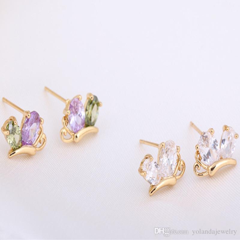 Бабочка серьги 18K желтое золото покрытием серьги для ребенка Дети девушки женщины серьги Lovery ювелирные изделия подарок