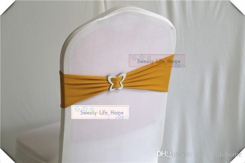 Black Spandex Chair Bands with Butterfly Buckle Chair Sash Stretch Lycra chair bows for Event Party Decoration