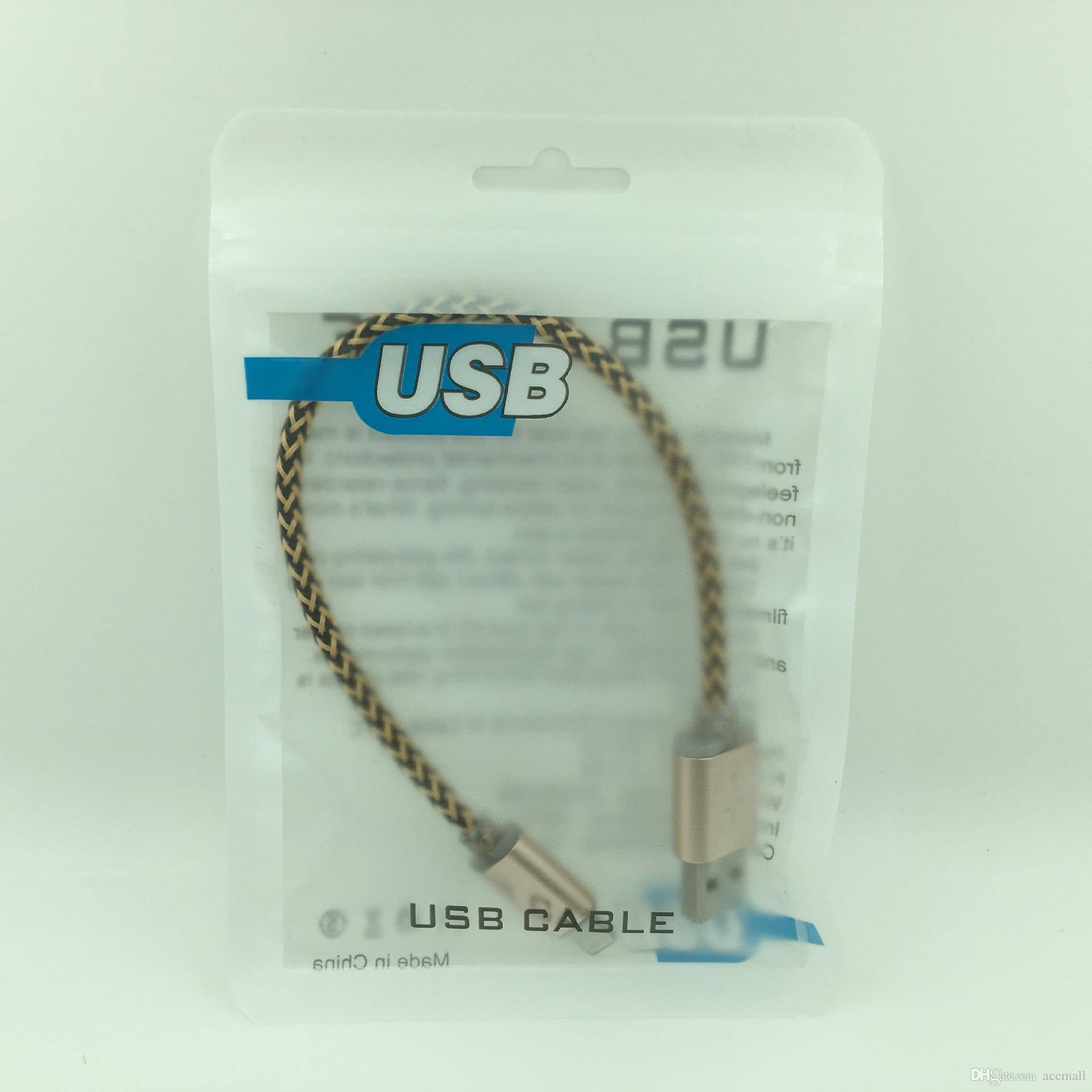 USB de plástico con cremallera paquete al por menor Bolsa de Poly PP cargador iPhone Cable Para 6 7 8 Plus X XR XS 11 Samsung Galaxy Nota 10 S10 S10e bolsas de embalaje