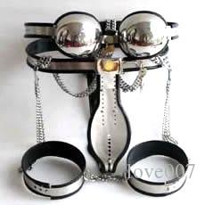 Male Fully Adjustable Model-T Stainless Steel Premium Chastity Belt + Thigh Bands + Bra Kit BLACK color