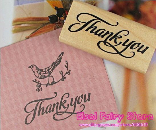 All'ingrosso 'Grazie' Timbro di legno 6x3cm Retro Style Gift DIY Stamp