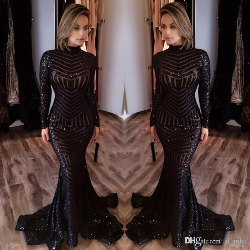 2018 venta caliente barato vestidos de noche largos cuello alto mangas largas palabra de longitud Memraid prom vestidos de fiesta vestidos de noche formales por encargo