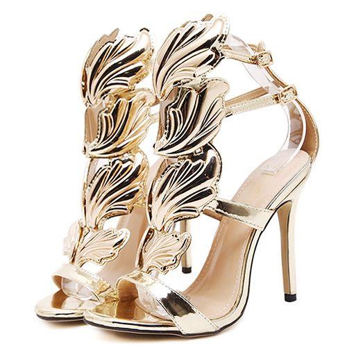Women Summer New Sexy Skin Leaf Flame Wings Buckle Strap Open Toe Party  Pump High Heels Wedding Shoes Stiletto Heels Open Toe Dress Shoes Platform  Heels ... c954c8fb311e