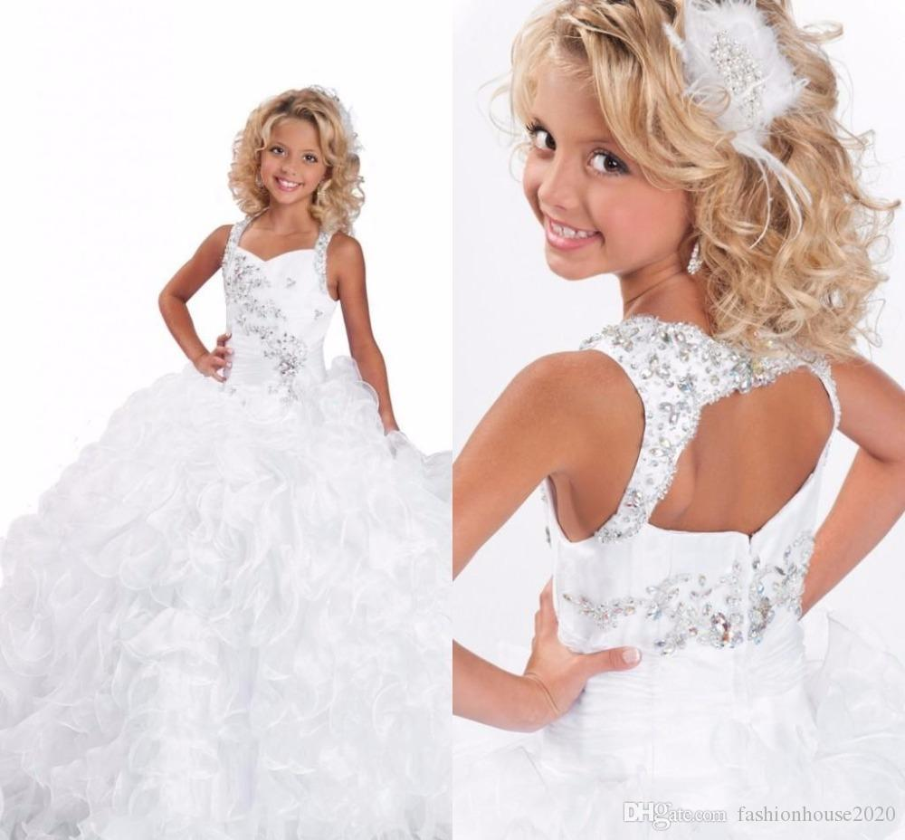 White Organza Ball Gown Flower Girl Dresses For Wedding Square Neck ...