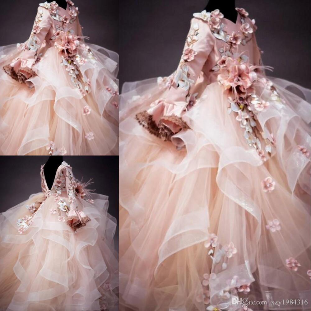 Mangas largas Vestidos de niña de flores Apliques florales Con cuello en v Cordones mullidos Vestido de gala para el cumpleaños de la niña Vestido bonito de comunión Niños Ropa formal