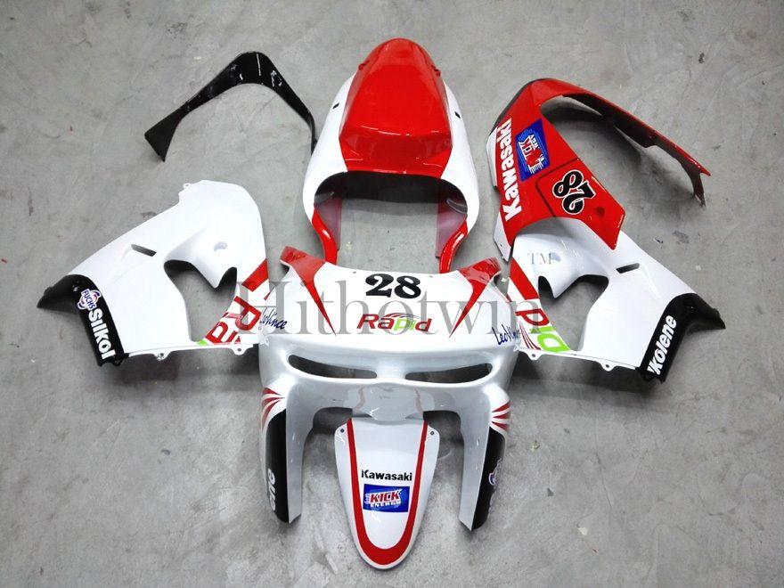 Kit de carrocería de paneles de motocicleta de plástico ABS para Kawasaki ZX-9R 1998-1999 ZX9R 98 99 rojo blanco carenado del mercado de accesorios