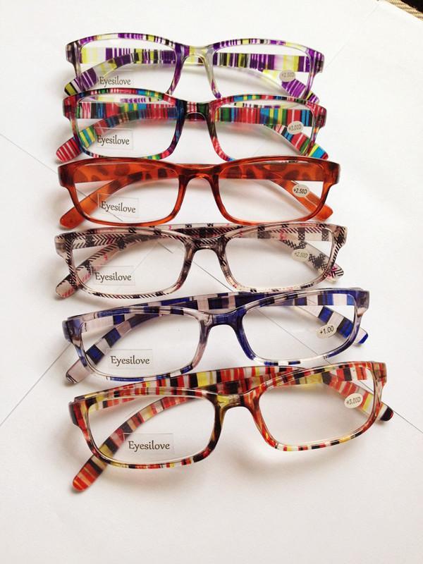 /  Färgglada plastläsningsglasögon Många färger linser ström från +1,00 till +4,00 acceptera blandad ordning