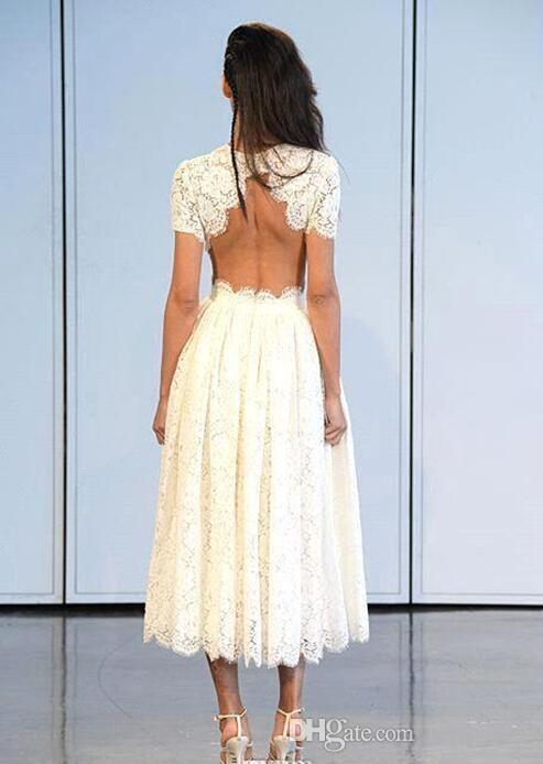 2017 Vintage Tea Length Lace Wedding Dresses Crew Neck Short Sleeves Sexy Summer Beach Backless Short Bridal Gowns Simple Party Gowns