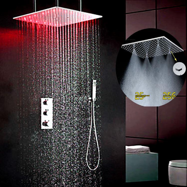kan bathroom shower wall concealed shower head set hot cold faucet mixer 20 stainless steel rain shower head ceiling mounted from - Ceiling Shower Head