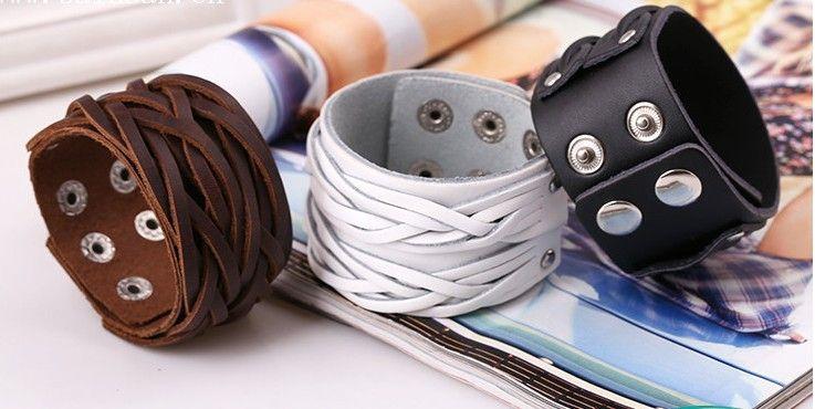 3 Couleurs Noir Blanc Brun Bracelet En Cuir Avec Boucle En Alliage Réglable Mode Femmes Hommes Bracelets Bijoux Punk Bijoux SH
