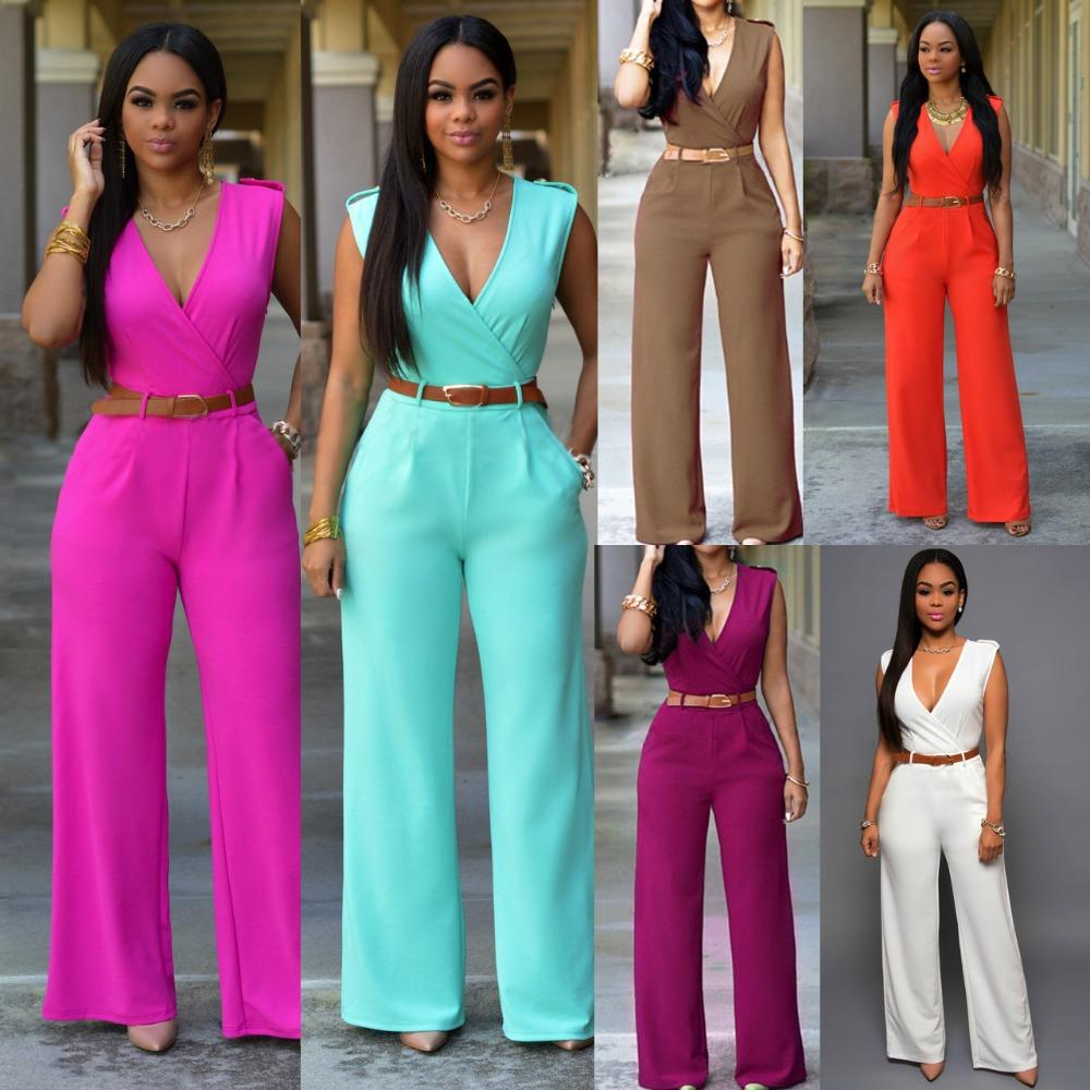b0e9e6337b4a Wholesale 2016 New Loose Sexy European American Brands Jumpsuit Ladies Slim  V Neck Pocket Sleeveless Women Full Length Jumpsuit Belts Canada 2019 From  ...