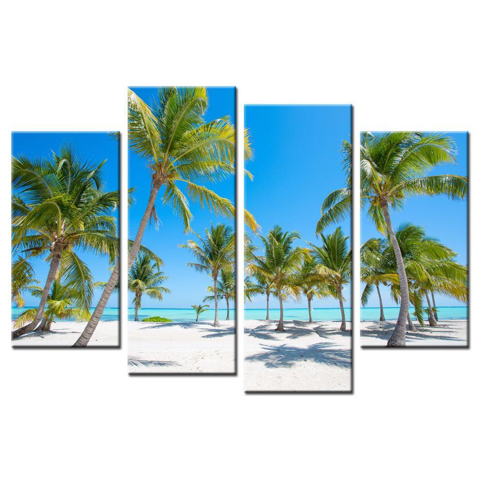 2018 seascape canvas printed picture coconut tree canvas prints blue
