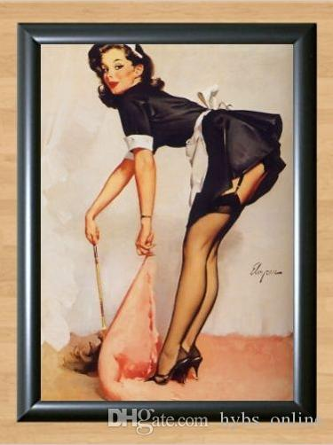 2018 Framed Gil Elvgren Maid Sweep Retro Pinup Girl Pure Handpainted ...